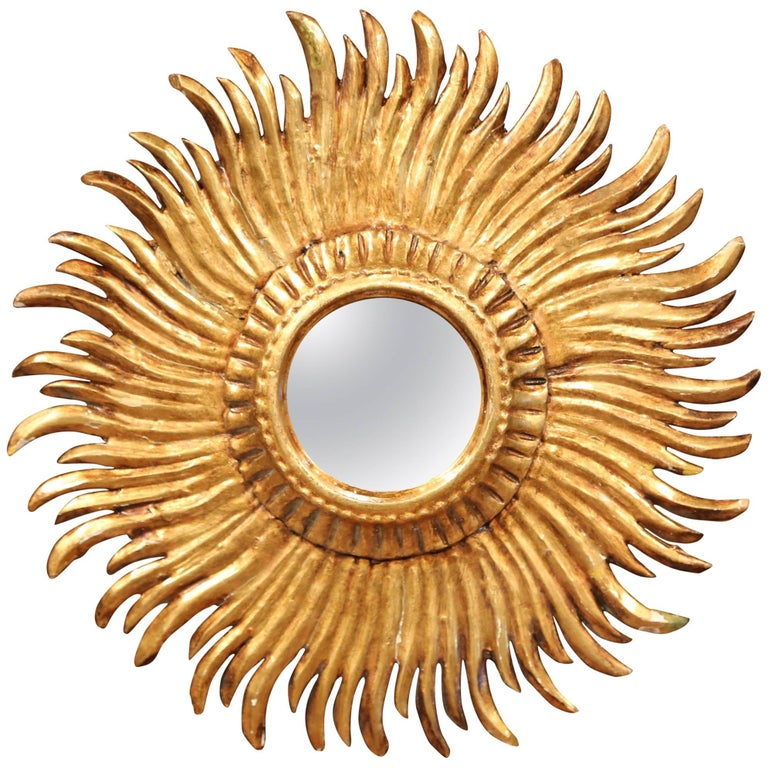 Mid-20th Century French Carved Sunburst Mirror with Gilt Finish