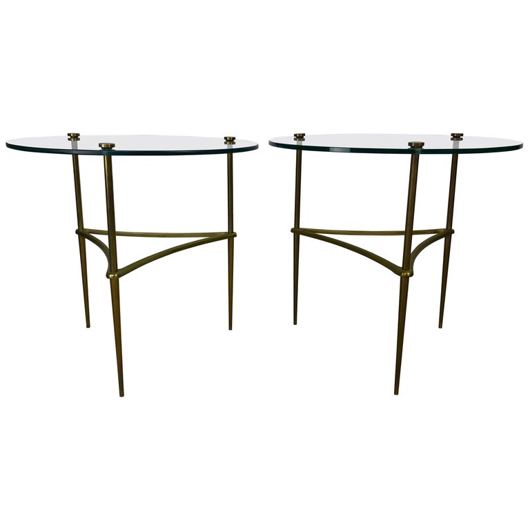 Pair of 1950s Italian Solid Brass and Tempered Glass End Tables