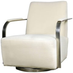 Thayer Coggin 1086 Zac Swivel Lounge Chair White and Satin Nickel