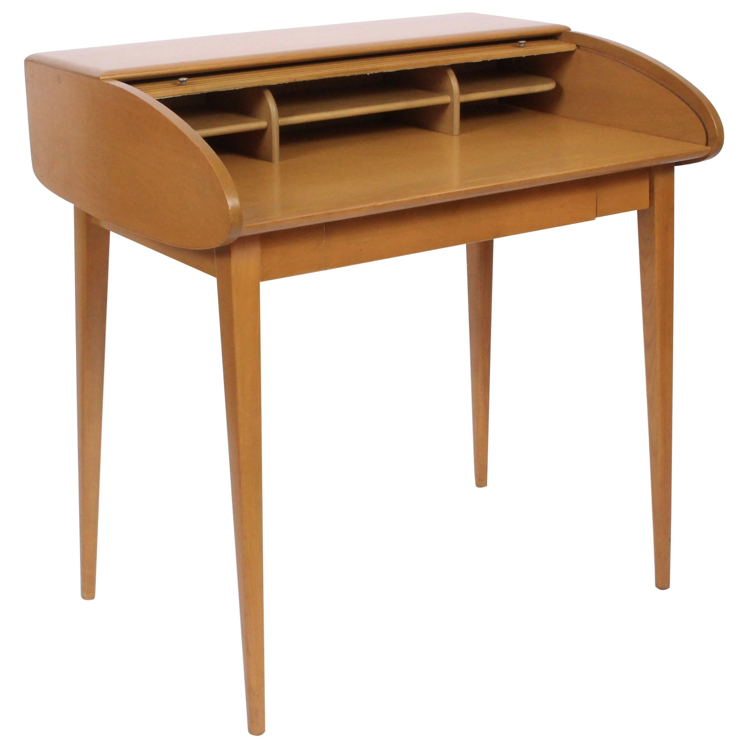 Heywood Wakefield Streamline Maple Tambour Desk, 1960s