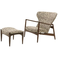 Danish High Back Lounge Chair and Ottoman by Ib Kofod Larsen, Eames Dot Fabric