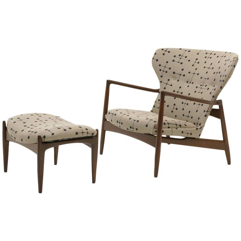 Danish High Back Lounge Chair and Ottoman by Ib Kofod Larsen, Eames Dot Fabric