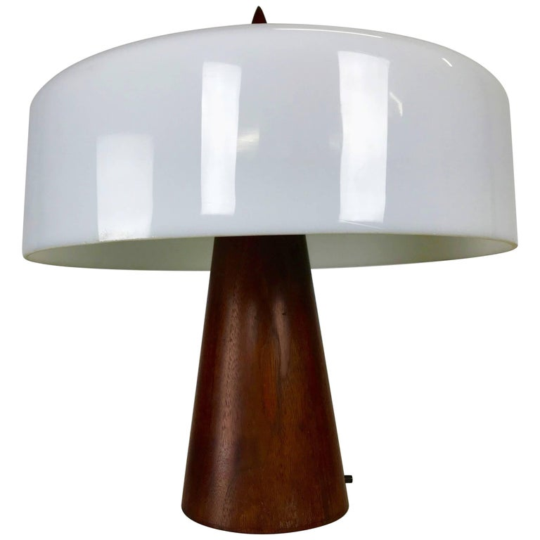 One off Walnut and Milk Glass Desk Lamp Designed by Phillip Enfield For Sale