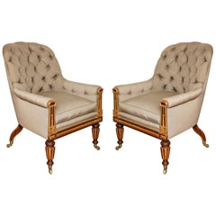 Pair of Parcel-Gilt Regency Library Chairs