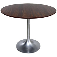Saarinen Style Tulip Base Table in Aluminum with Wood Grain Laminate Top