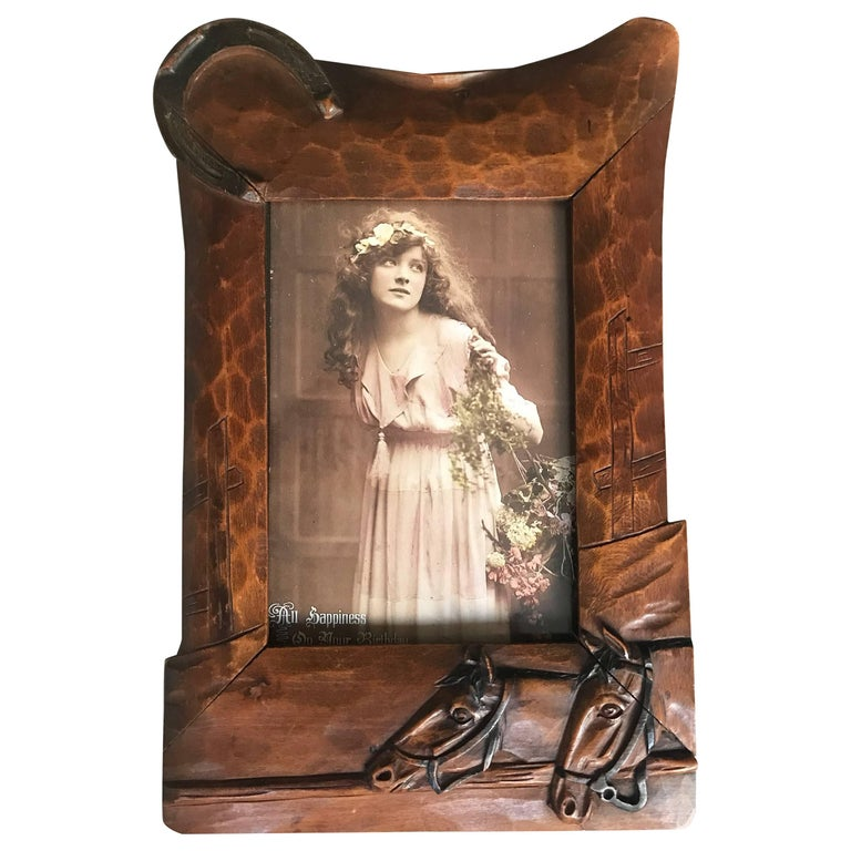 Antique and Fine Quality Hand-Carved Wooden Picture Frame with Horse Theme
