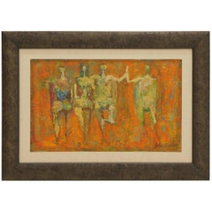 Abstract Figural Painting by John Bashor, 1950s
