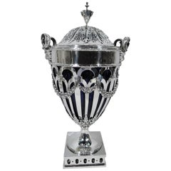 Antique American Neoclassical Sterling Silver Covered Vase Urn