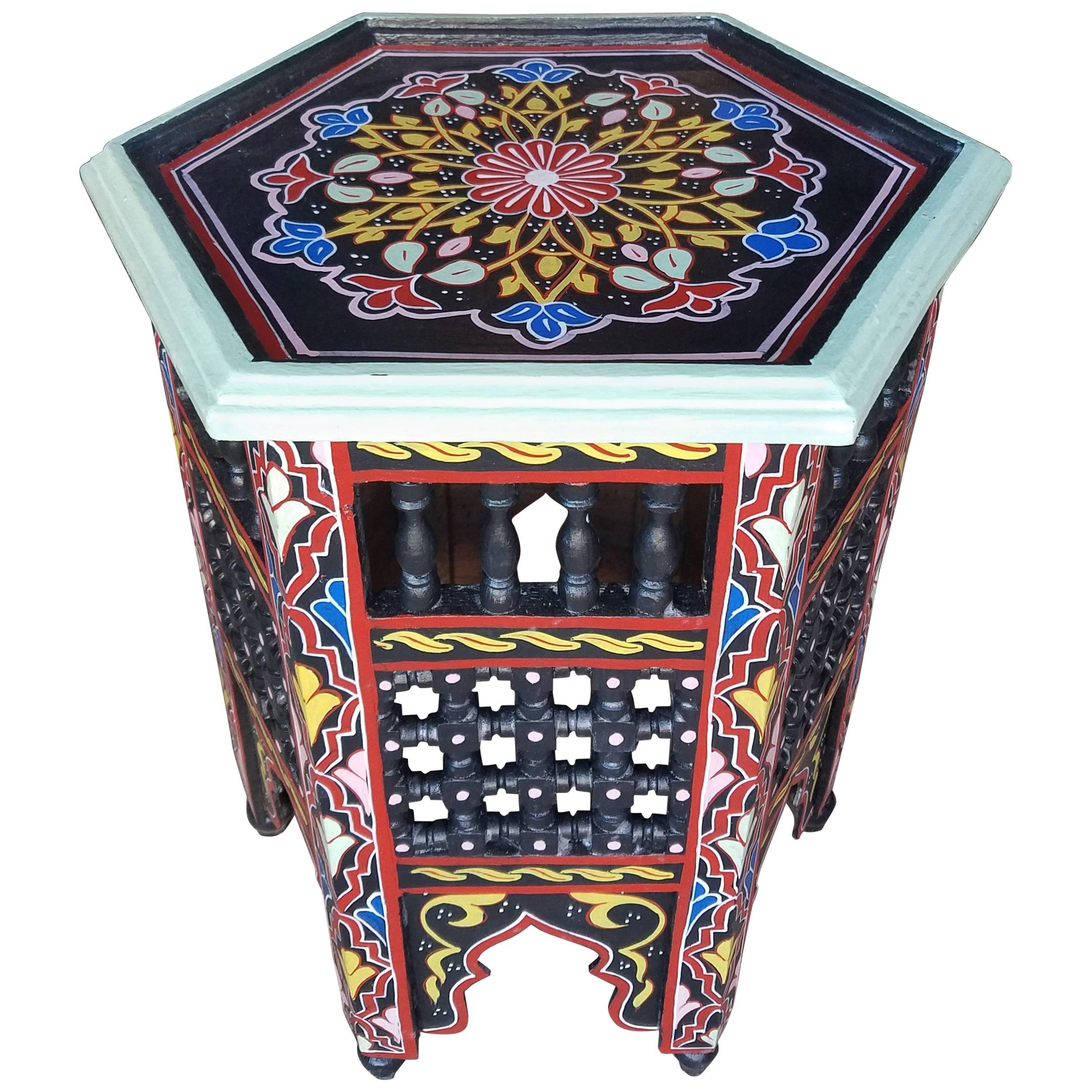 Black Hexagonal Hand Painted Table, Marrakech