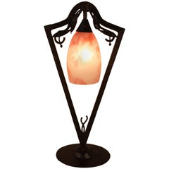 Art Nouveau Blown Glass and Wrought Iron Table Lamp by Daum Nancy