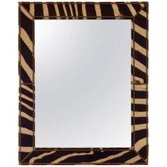 Super Chic and Graphic Authentic Zebra Hide Mirror