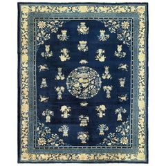 Room Size Navy Background Antique Chinese Rug