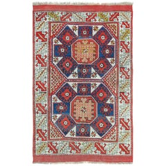 Small Scatter Size Tribal Antique Bergama Turkish Rug
