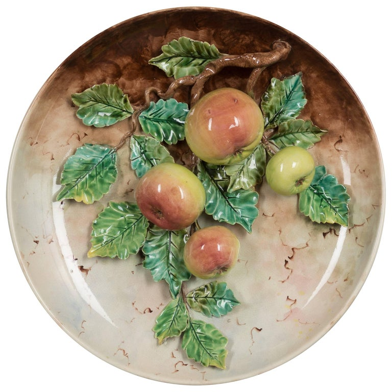 Late 19th Century French Barbotine Wall Platter with Apples