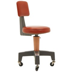 Industrial Design Swivel Chair on Casters by American Optical Corp Red Orange