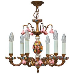 Brass and Porcelain Flower Chandelier, Mid-20th Century