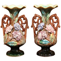 Pair of 19th Century French Hand-Painted Barbotine Vases with Flowers and Leaves