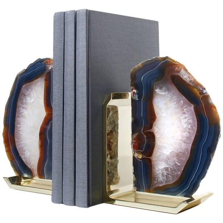Fim Natural Agate and Brass Bookends, Set of Two- In Stock