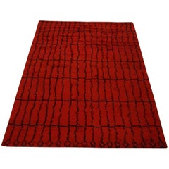 Red and Black Moroccan Design Area Rug