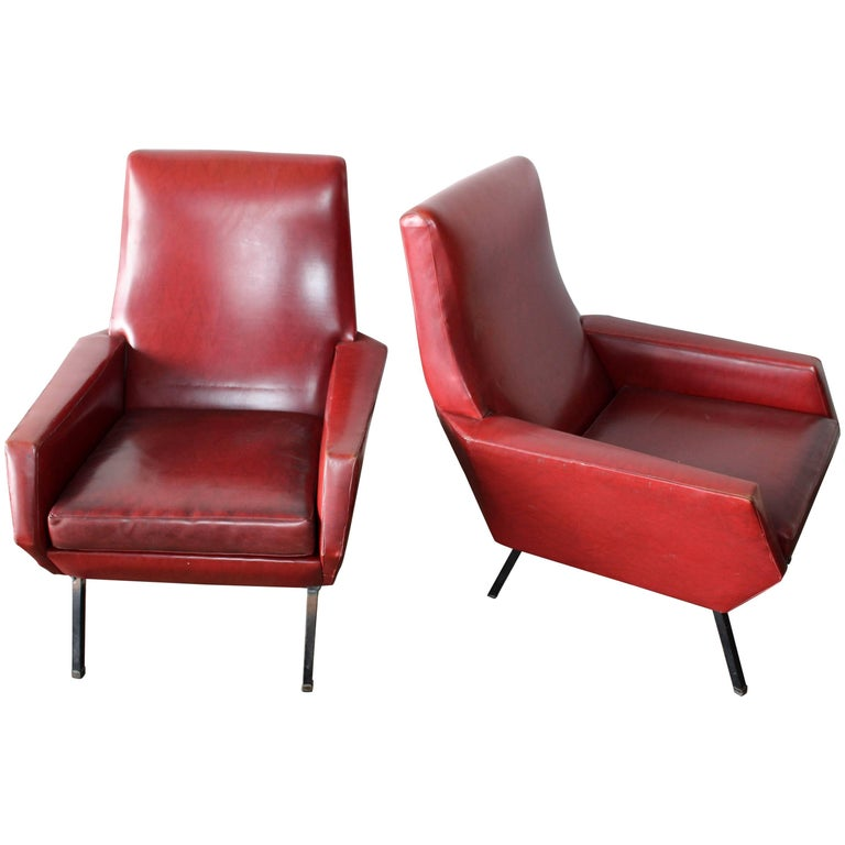 Italian, 1950s Lounge Chairs Attributed to Arflex-Meda For Sale