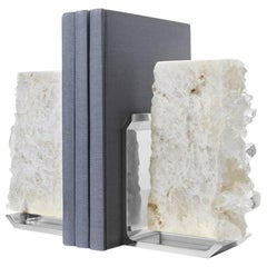Fim Crystal and Silver Bookends, Set of Two - In Stock