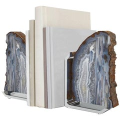 FIM Natural Agate and Silver Bookends, Set of Two - In Stock