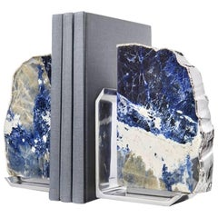 FIM Indigo and Silver Bookends, Set of Two - In Stock