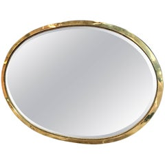 Brass Oval Italian Mirror, 1960s