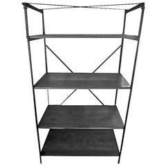 French 1940s Cast Iron Display Unit with Four Painted Wood Shelves