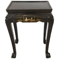 Elegant Little Black Carved Wood Asian Side Table