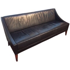 Sophisticated Men's Club Mid-Century Modern Black Leather Couch