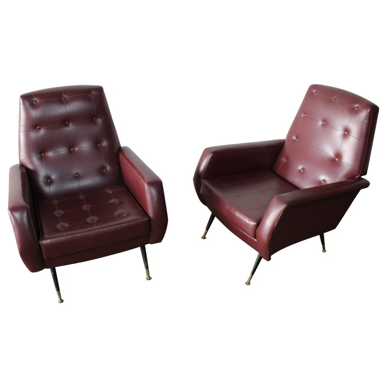 Italian Pair of Club Chairs