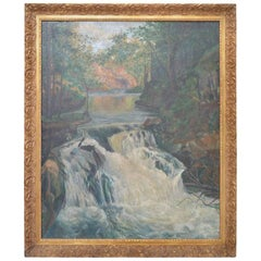 Signed Oskar Larsen Forest Waterfall Oil Painting