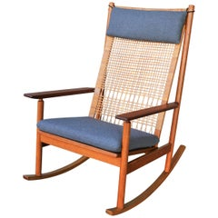 Hans Olsen for Juul Kristensen Teak Rocking Chair, Cane Back, Charcoal Wool