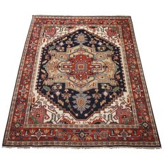 Dark-Blue Vegetable Dyed Wool Serapi Rug