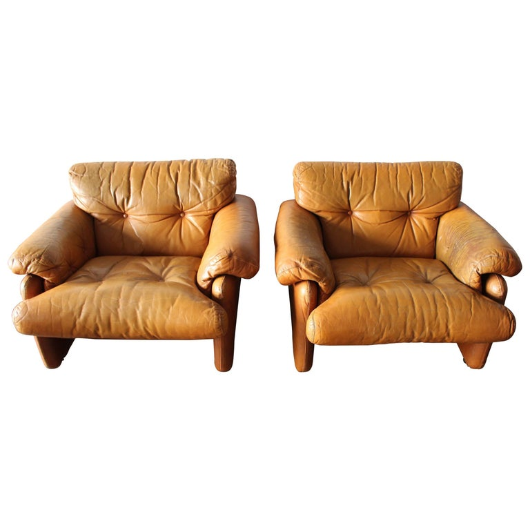 Coronado Pair of Lounge Chairs by Afra and Tobia Scarpa for B&B Italia