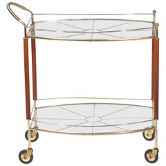 Italian Brass and Teak Bar Cart