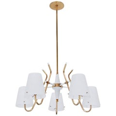 Italian Five-Glass Shade Chandelier
