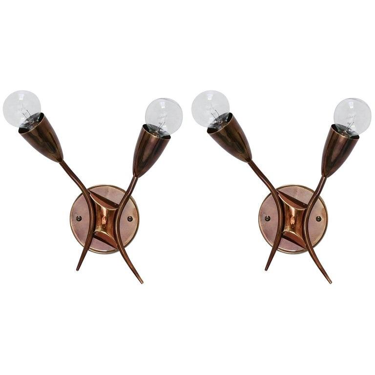 1950s Brass X Sconces