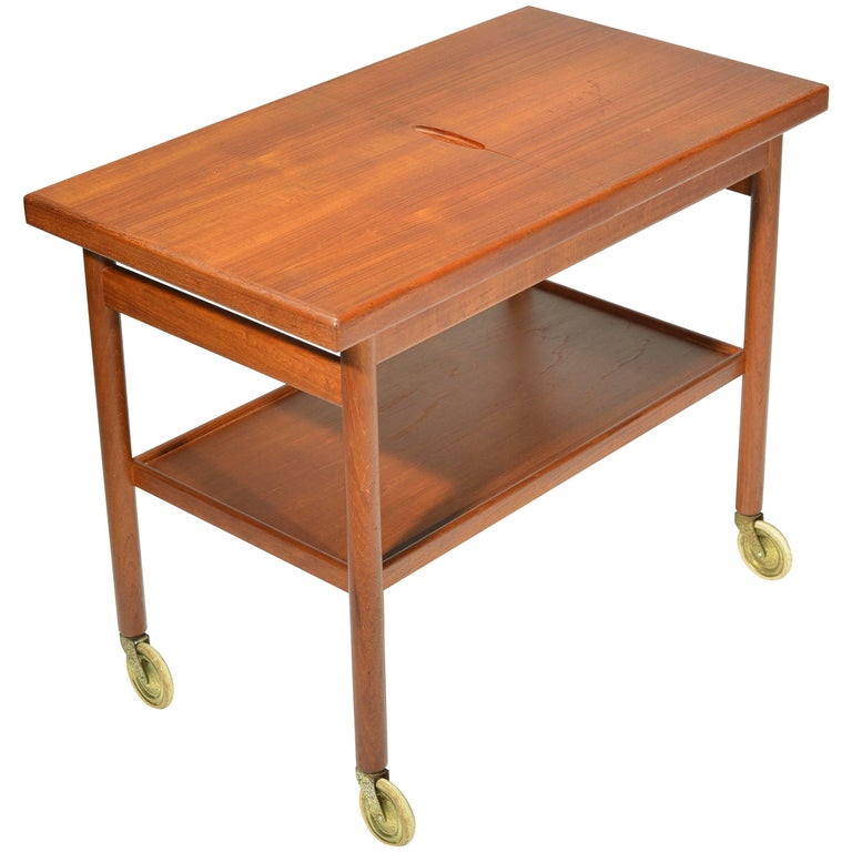 Danish Teak Bar Trolly with Expandable Top For Sale