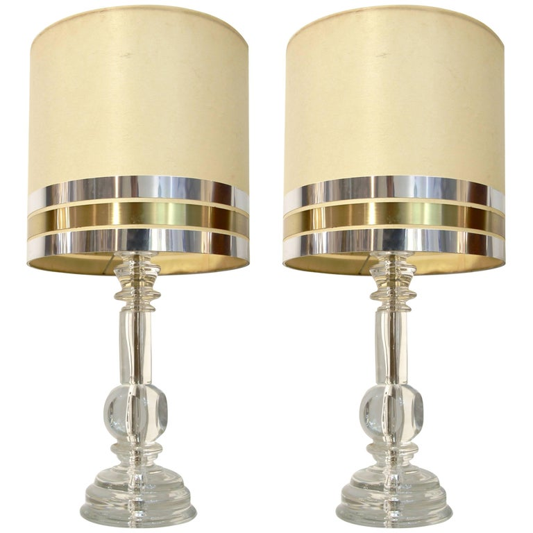 1970s Italian Vintage Pair of Crystal Glass Table Lamps with Organic Design For Sale 1
