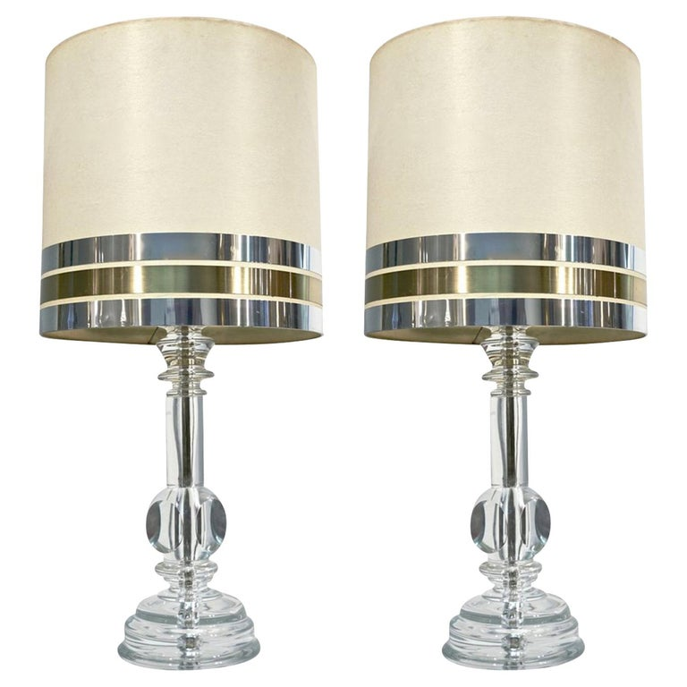 1970s Italian Vintage Pair of Crystal Glass Table Lamps with Organic Design For Sale