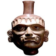 Pre-Columbian Mochica Head Vessel Ai Apaec