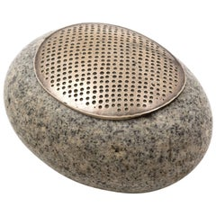 John Prip Sterling Silver and Granite River Stone Lidded Box