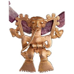 Pre-Columbian Rare Gold Veraguas/Diquis Supernatural Drummer Pink Tourmaline