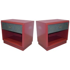 1970s Italian Green Leather Burgundy Side Tables with Mirror and Bronze Accents