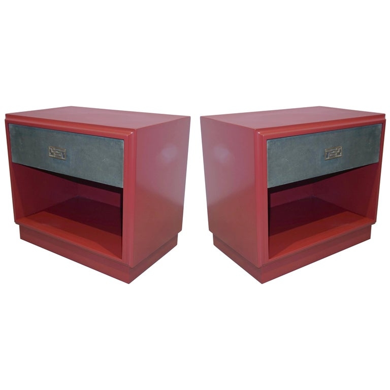 1970s Italian Green Leather Burgundy Side Tables with Mirror and Bronze Accents For Sale