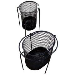 1950s Maurice Duchin Metal Waste Baskets, Pair