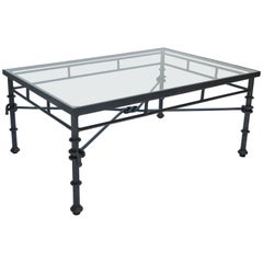 Italian Rectangular Iron Coffee Table with Glass Top