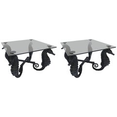 Pair of Iron Seahorse Side Tables with Smoked Glass Tops